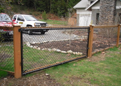 Chain Link Fence with Cedar Wood Trim