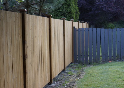 Estate Style Cedar Fence with Aspen Stain