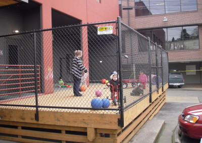 Black Chain Link Fence Around Playground