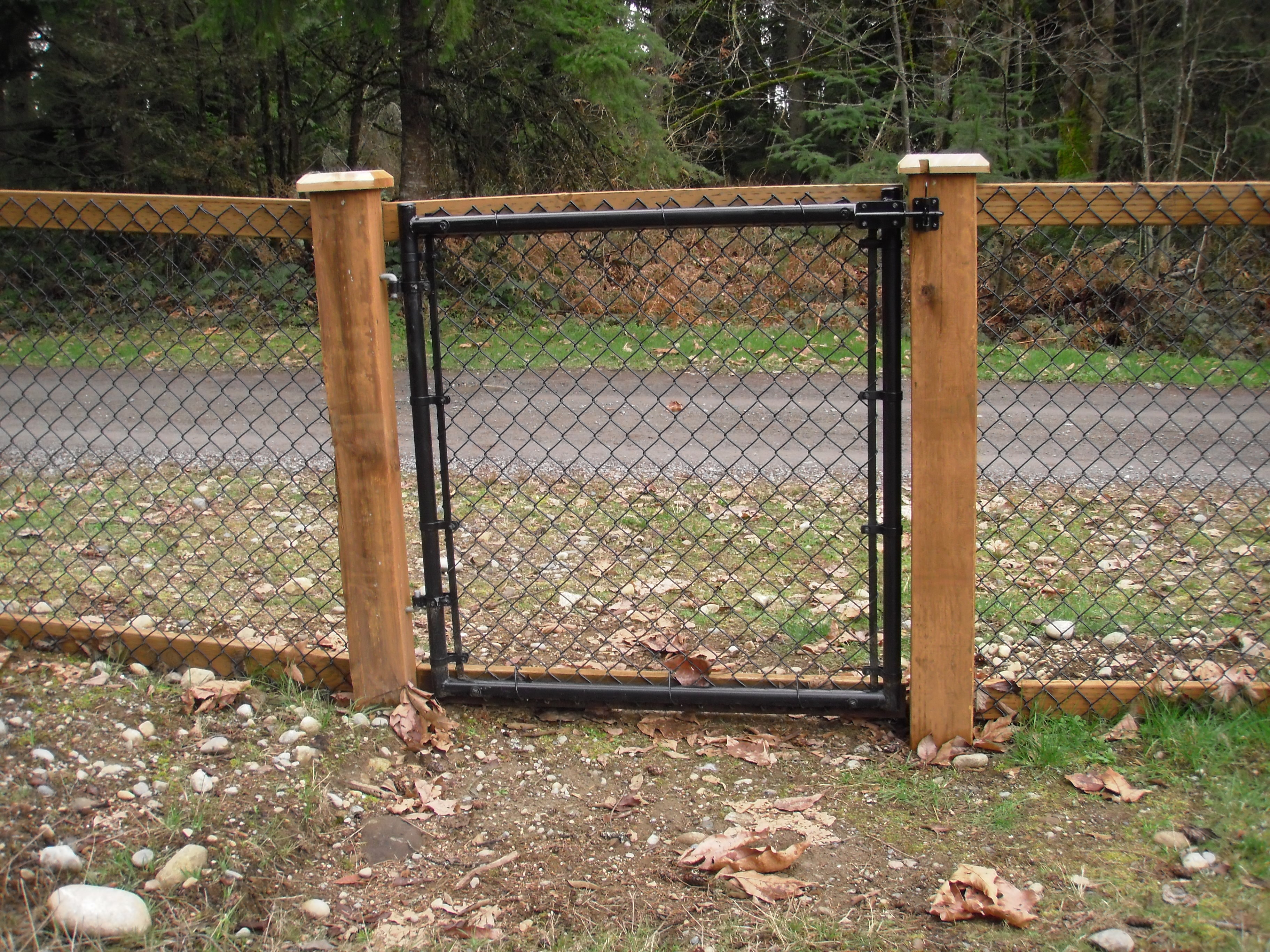 Metal chain fence gate Double Chain Link Fence With Cedar Wood Trim Fence Solutions Chain Link Fencing In Sammamish Wa City Wide Fence